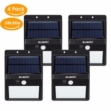 Suaoki LED Solar Lamp Waterproof IP65 28leds Solar Powered Light Garden Wall Light Outdoor ABS Wall Lamp Stairs Lights 4PCS/PACK
