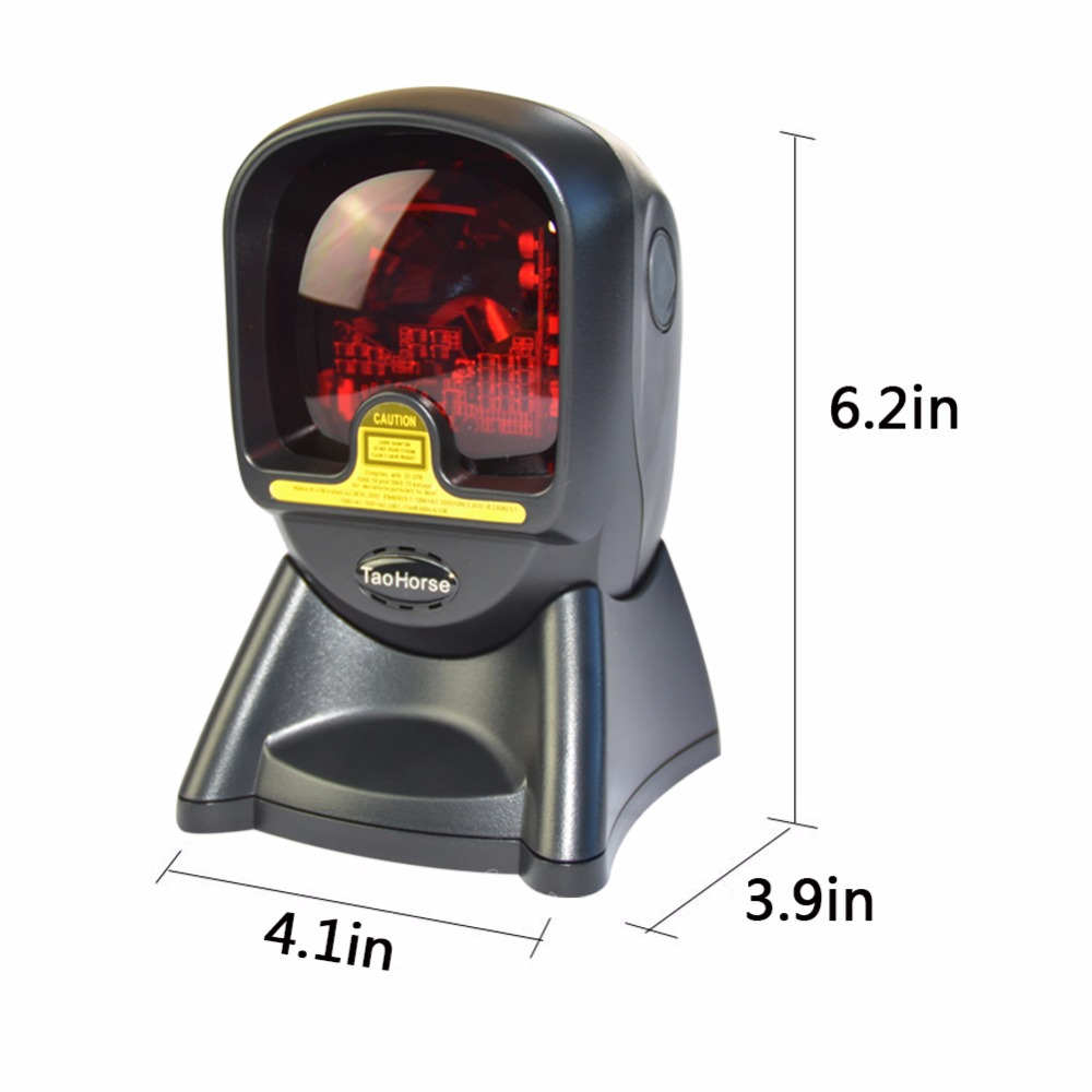 TaoHorse Omnidirectional Barcode Scanner Desktop High Speed 1D Bar Code Reader With Hands Free Adjustable Stand And USB Cable