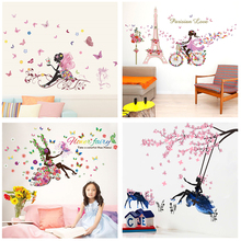 Butterfly Flower Fairy Wall Stickers for Kids Rooms Bedroom Decor Diy Cartoon Wall Decals