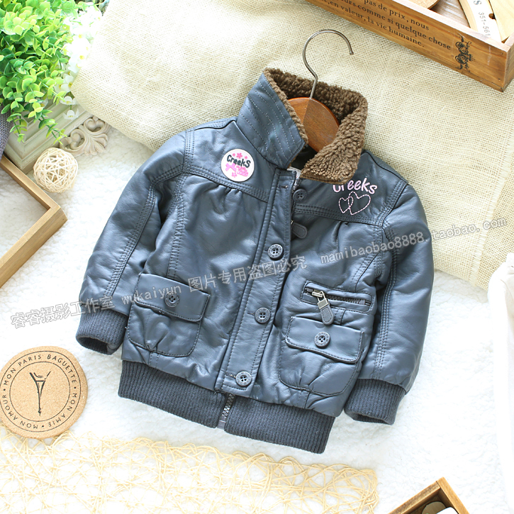 Free shipping Retail new 2015 fashion childrens winter jacket for girls leather clothing baby outerwear kids leather jacket<br>