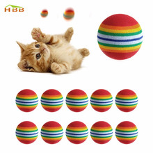 10Pcs Colorful Cat Toy Ball Interactive Cat Toys Play Chewing Rattle Scratch Natural Foam Ball Training Pet Supplies YX#(China)