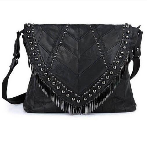 NEW GENUINE LEATHER SHEEPSKIN RIVET PUNK MESSENGER BAGS Famous Brands Luxury Designer Bags Black Crossbody Shoulder Bags 2016<br><br>Aliexpress