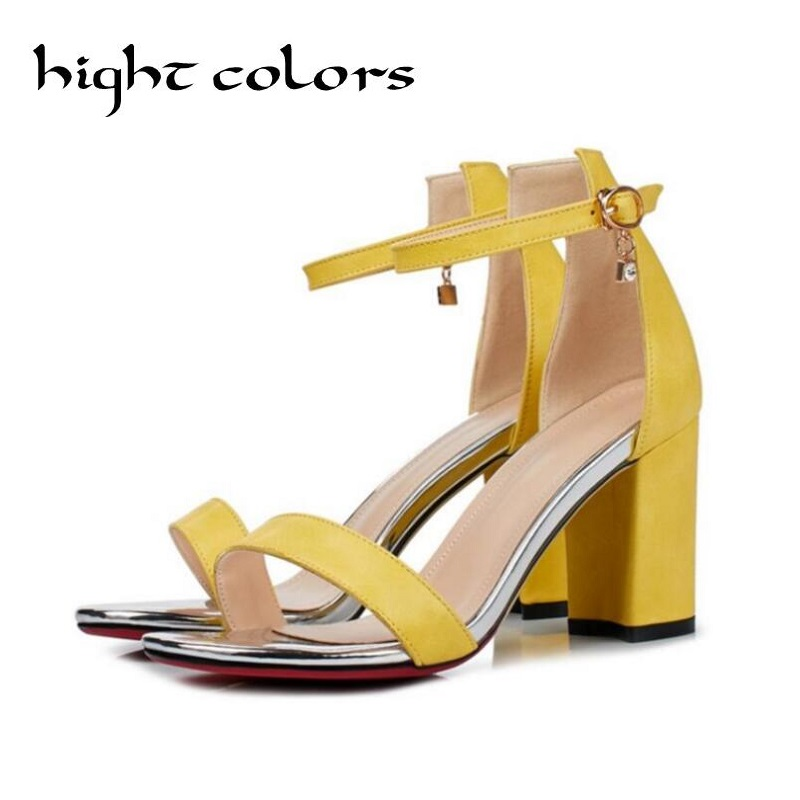2017 New High-Heeled Open Toe With Work Casual Square Head Simple Female Sandals For Women Ankle Strap Summer Yellow Shoes <br>