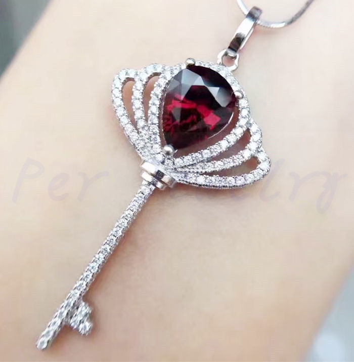 Natural garnet key necklace pendant Free shipping Real origin garnet 925 sterling silver Fine jewelry 2ct gemstone #BL1892619