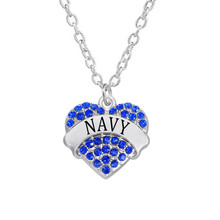 Fashion US Military Jewelry Rhinestone Hearts Charms Name Navy Jewelry Necklaces