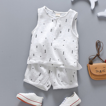 Cotton Linen Boys Girls Suit Summer Sleeveless Vest Shorts 2pcs Suit Children Set 2018 Clothing Kids Bobo Bebe Toddler 0-5T(China)