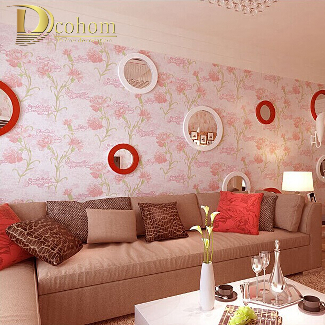 Modern 3D Embossed Letters Floral Flocking Wallpaper For Walls Simple Embossed Desktop Wall Paper Wall Covering Pink White R494<br><br>Aliexpress