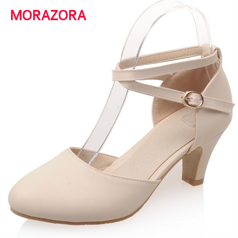 MORAZORA 2017 New arrive summer shoes high heels shallow buckle wedding shoes woman sandals elegant big size 33-43<br>