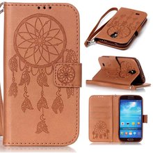 Flower Pattern PU Leather Wallet Flip Book Cover Case for Samsung Galaxy Grand / S3 Mini / S4 S5 Mini Case W/ Carry Strap 30PCS