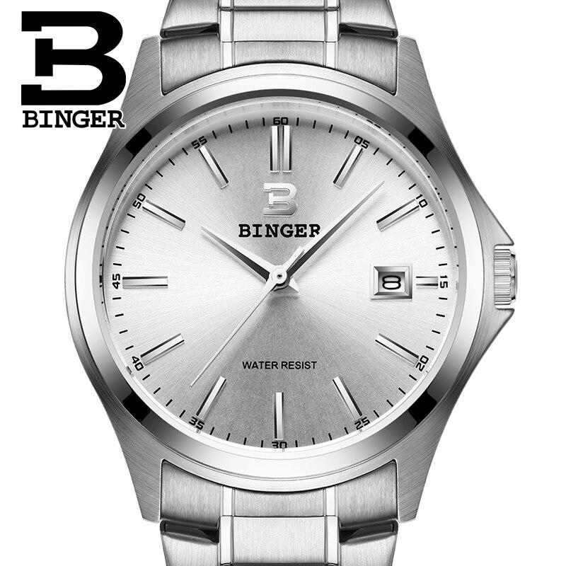 2017 Switzerland luxury mens watch BINGER brand quartz full stainless clock Waterproof Complete Calendar Guarantee B3052A<br>