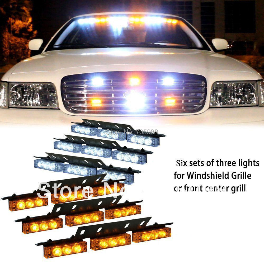 White &amp; Amber 6x9 LED Snow Plow Car Boat Truck Warning Emergency Strobe Lights Indicator Grill Fog Lamps Warning lights 6 color<br><br>Aliexpress