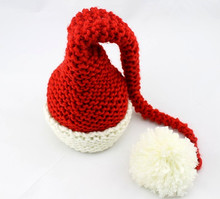 red handmade crochet Christmas Hat Christmas Bonnet Baby Elf Hat long stocking cap newborn hat Photo Prop baby long tail caps
