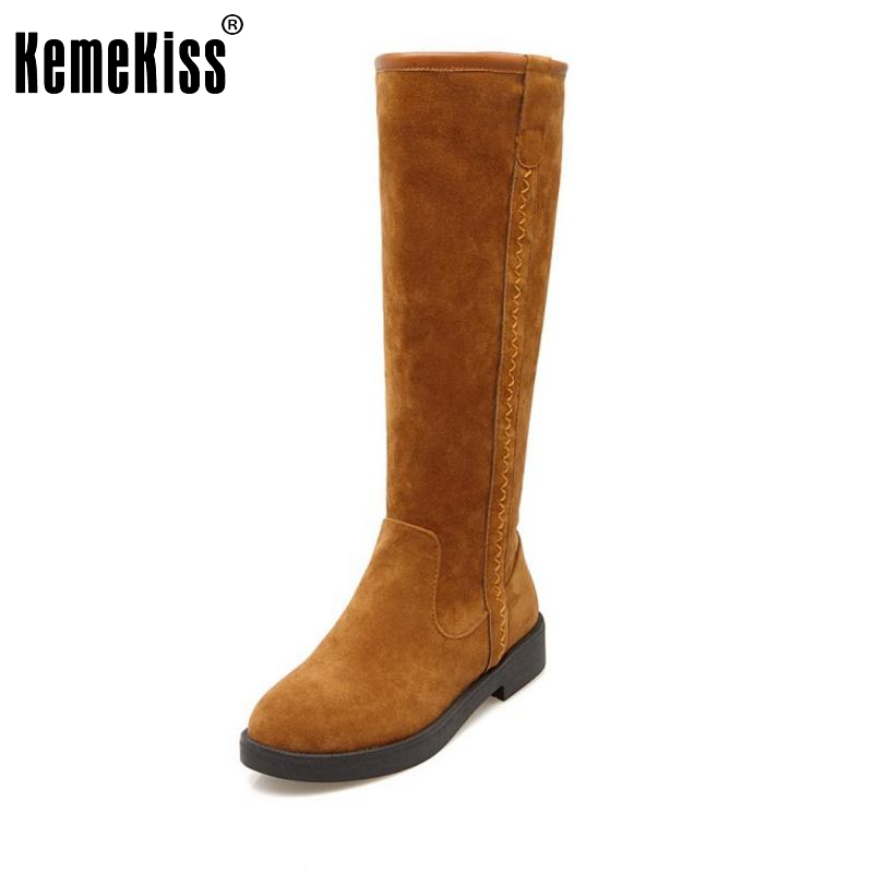Women Flat Knee Boots Woman Fashion Round Toe Martin Boot Female Comfort Warm Fur Botas Feminina Shoes Woman Size 34-43