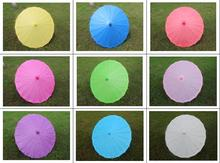 (10 pieces/lot) New diameter 23.6 inches handmade long-straight solid color paper parasols Fancy wedding decorative umbrellas