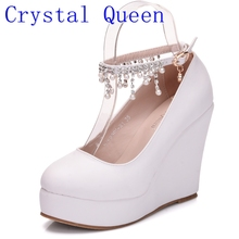 Crystal Queen High Heel Ankle Strap Platform Wedge shoes Women Pump Wedge High Heels Platform Sapato Feminino Shoes dress shoes(China)