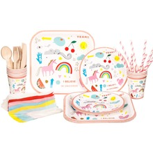 RiscaWin Unicorn Wedding Birthday Party Set Supplies for 10 Packs Paper Plates,Cups, Straws,Napkins...Disposable Tableware Sets
