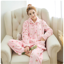 Warm Flannel Women's Sleepwear Long Pajamas Set Winter Flannel Big Size Pajama Homewear Cute Cartoon Coral Fleece Pajamas