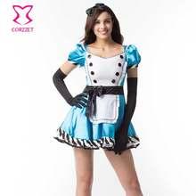 Azul Alicia en el país de las Maravillas cosplay trajes de halloween para  las mujeres anime traje Sissy Maid Lolita fiesta carna. a78da605374b