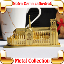 New Year Gift Notre Dame De Paris 3D Model Building Metal Small Cathedral Model Puzzle Brain Training DIY Toy Nano Collection