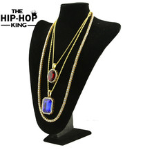 Men Hip Hop Iced Out Rhinestone Tennis Chain Red Rhinestone Pendant 3 Necklace Set for Men Women Best Gift Gold Color Jewelry