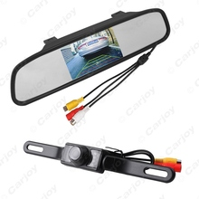 "2 in 1 4.3""inch TFT LCD Digital Rearview Monitor With Mirror An License Plate Reversing Camera Rear View System #CA3733"
