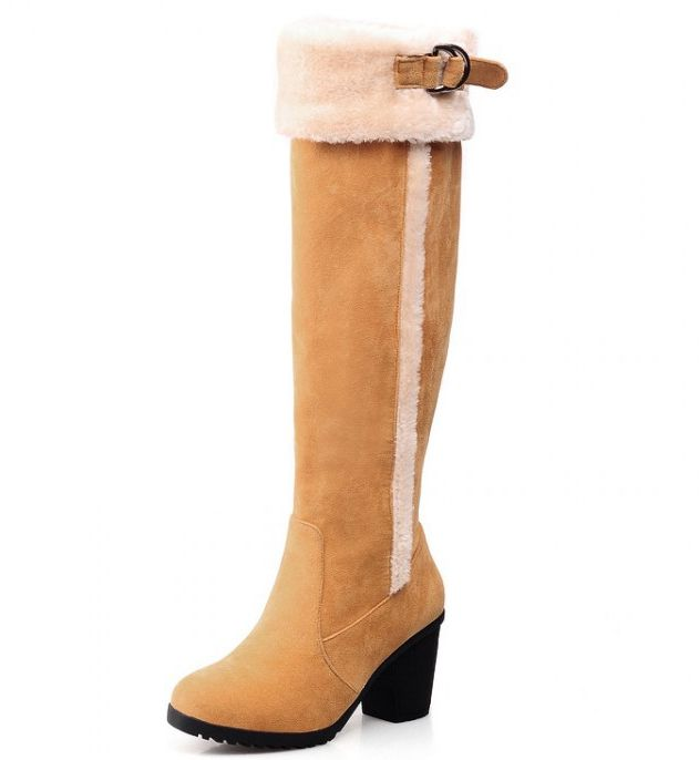 Plus size 34-43 fashion warm winter knee high boots for woman PR259 buckle slip on high thick heeled snow boots womens<br><br>Aliexpress