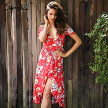 Simplee Ruffle boho floral print dress Women v neck slip long sexy dresses Elegant strap red summer beach dress belt vestidos
