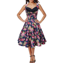 Summer Rockabilly Party Wear Pin Up Plus Size Homecoming Dinner and Daily Holiday Dress for Ladies L36105-4