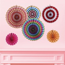 New 6 Pcs Decorative Paper Fan Crafts Kit Multi- Color / Pink / Blue / Black Styles Home Hanging Birthday Party Wedding Decor