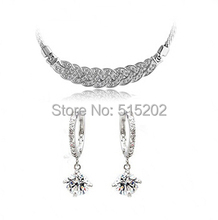 2014 bride rhinestone earrings necklace sets rhinestone bridal suite selling earrings + necklace YP0249