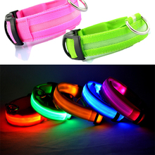 Nylon LED Pet Dog Collar Night Safety Flashing Glowing Collar Leash for Dogs Luminous Fluorescent Pet Supplies Drop Shipping(China)