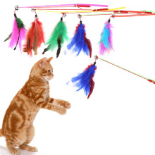 5 Pcs Colorful Wire Feather Cat Toys On A Rod Belling Colorful Feather Teaser Play Pet Dangler Cat Feather Wand Toys(China)