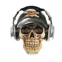 3D Skull with Cap&Headphone Ornament Gothic Steampunk Rave Cyber Goth Craft