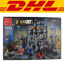 2017 New Enlighten 1023 1393Pcs Medieval Lion Castle Knight Carriage Model Building Kit Blocks Brick Toy Gift Compatible Gift