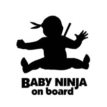 12.5cm*13.5cm Creative Alert Logo Baby Ninja Baby On Board Funny Cute Cartoon Car Stickers C5-0581(China)