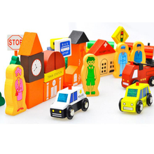 Baby Wooden City Road Traffic Signs and Vehicles Building Blocks Kids Magnetic Scenario Building Blocks Gifts(China)