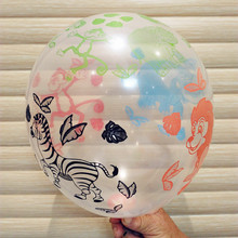 100pcs/lot 12 inch Transparent animal print balloon happy birthday party balloon Children's toy balloon transparent color animal