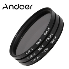 Andoer 58mm Photography Filter Set ND2 ND4 ND8 Fader ND Filter Kit for Nikon Canon Rebel T5i T4i EOS 1100D 650D 600D DSLRs
