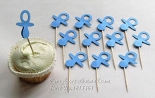 30pcs Glitter Baby Bottle Birthday Party Cupcake Toppers Its a Boy Girl Baby Shower Kids Favors Baby Feeding Bottles Supplies