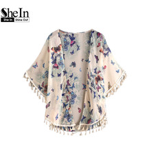 SheIn Butterfly Print Fringe Trim Top Beach Cover Up Kimono Womens Tops and Blouses Multicolor Open Front Kimono