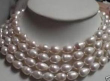 Lengthen 9-10mm White Rice Cultured Akoya Pearl Necklace beads Jewelry Natural Stone 80''  Wholesale Price