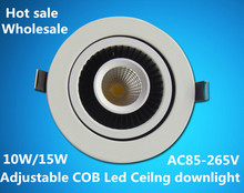 Wholesale price 360 degree Rotating adjustable led downlight COB 10W/15W recessed ceiling lampada luces 90V-265V
