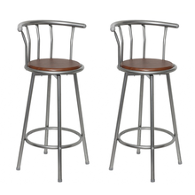 2 Pieces Wooden And Steel Bar Stools Bar Chairs For Drinking Dining Ship From ES