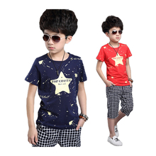 Summer boys clothes sets cotton kids clothes 2pcs star print short sleeve t-shirt+pants,boys clothing suits for 6-14 years