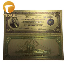 Gold Foil Banknotes 1928 Year's USA 2 Dollars Currency Fake Money 10pcs/set Wholesale For Collection(China)