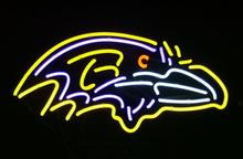 "Business Custom NEON SIGN board For Football LED Baltimore Ravens REAL GLASS Tube BEER BAR PUB Club Shop Light Signs 14*10""(China)"