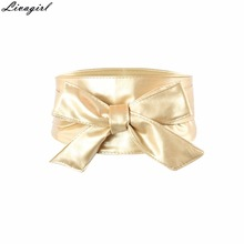 Fashion Women Elegant PU Leather Wrap Around Bowknot Bind Wide Waistband Corset Cinch Belts All-match Wide Female Belt