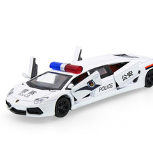 2017 Hot sell 1:32 Police Limousine Car Diecast Alloy Metal Luxury Car Model Collection Model Pull Back Toys Car Gift For Boy(China)