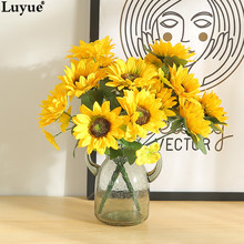 Luyue Official Store 2017 New Arrive Artificial Sunflower Fashion Wedding Simulation Silk Flowers 1pcs Festival Home Decoration(China)