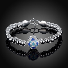 Tuker High Quality Fashion Charm Blue pattern Bracelet Silver Plated Round beads Chain Bracelets For Women Jewelry
